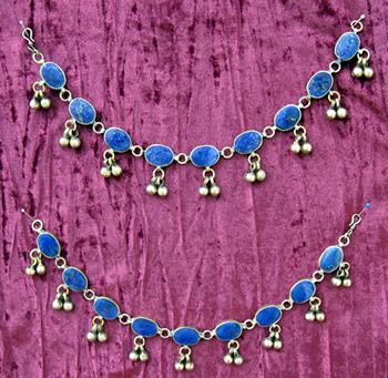 Kuchi Anklet with Oval Lapis Links